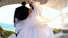 Island Wedding Couple in Wide-angle Stock Footage