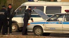Policemen keep order Stock Footage