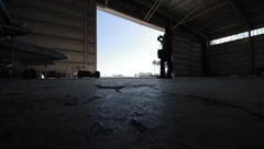 Air Planes Hangar Stock Footage