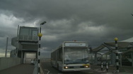 Stock Video Footage of Bus & plane at Heathrow Airport on a cloudy day