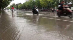 Flooded streets of Kashgar, China Stock Footage