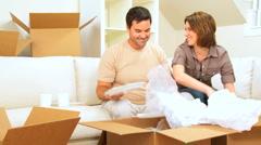 Young Couple in New Home Stock Footage