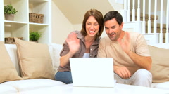 Attractive Couple Using Internet Webchat - stock footage