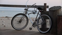 Bicycle on boardwalk Stock Footage