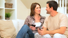 Young Couple Drinking Wine at Home - stock footage