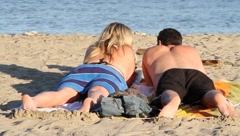 Beach couple Stock Footage