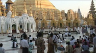 Stock Video Footage of Shwedagon pagoda, praying people