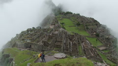 Clouds rolling over Machu Picchu - stock footage