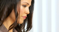 Brunette Girl in Face Close up Stock Footage