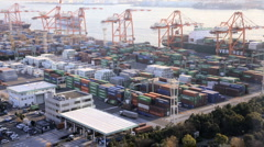 Cargo Container Port, Odaiba, Tokyo, Asia, Time-Lapse Stock Footage