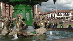Fountain in Plaza de Armas Cusco Peru Stock Footage