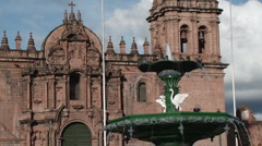 View across Plaza de Armas to the Cathedral in Cusco Stock Footage