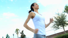 Healthy Female Jogging Exercise Stock Footage