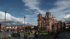 Pan around Plaza de Armas Cusco Stock Footage