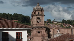 Bell Tower of La Compania Church in Cusco Stock Footage