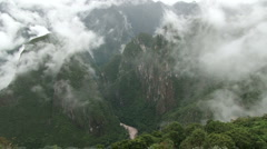 Misty view of the Urubamba Valley in Peru - stock footage