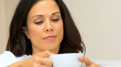 Brunette Girl Relaxing Drinking Coffee Stock Footage