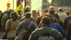 Crowd Footage, Backs of People Walking- Slow Motion - stock footage