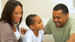 Portrait of Loving African American Family Group Stock Footage