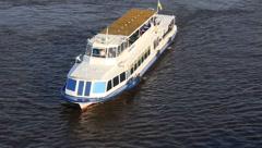 White motor vessel Stock Footage