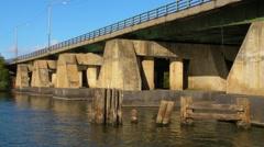 60p Passing under  river bridge - Dredge Crane Platform Rig.MP4 Stock Footage