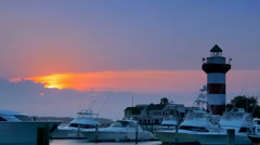 Hilton Head lighthouse at sunset Stock Footage