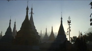 Stock Video Footage of Pagodas at sunrise
