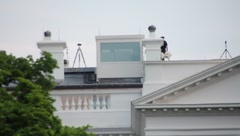 Sharpshooters on roof of White House Washington DC (HD) c Stock Footage
