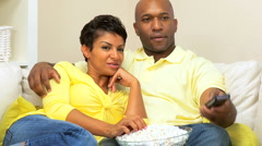African American Couple Relaxing at Home Stock Footage