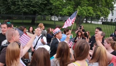 Americans celebrate in front of White House (HD) c Stock Footage