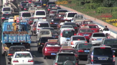 Major traffic jam in Chinese city, China transportation, congested highway Stock Footage