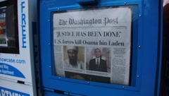 Washington Post Newspaper Osama Bin Laden Dead (HD) c Stock Footage