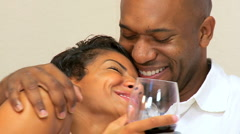 Ethnic Couple in Close-up with a Glass of  Wine Stock Footage
