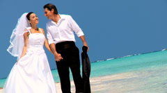 Bridal Couple on Beach After Dream Wedding Stock Footage