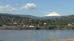 Columbia River and Mount Hood at The Dalles Stock Footage