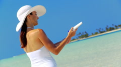 Caucasian Female Applying Sun Protection Cream Stock Footage