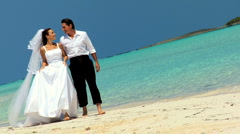 Barefoot Caucasian Couple in Wedding Clothes Stock Footage