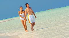Attractive Couple in Swimwear on Island Vacation Stock Footage