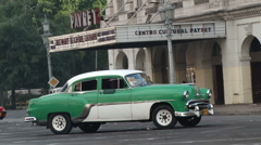 Classic American Car in a Havana Street Stock Footage