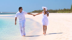 Happy Couple on Secluded Tropical Island - stock footage