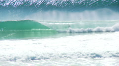 Crystal Clear Barrel, Surfer Rides Waves at Gold Coast, Australia - stock footage