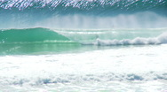 Stock Video Footage of Crystal Clear Barrel, Surfer Rides Waves at Gold Coast, Australia