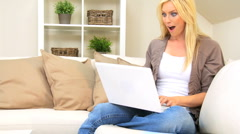 Pretty Girl Excited With Laptop Results Stock Footage