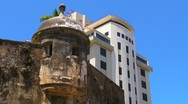 Stock Video Footage of Puerto Rico - Centuries Old Sentry Box and  20th Century Building