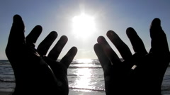 Lovely sunset blue love waves beach romantic hands prayer wish entreaty Stock Footage