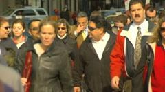 Wide Crowded Bridge  Motion JPEG B POND5 INTERLACE! Stock Footage