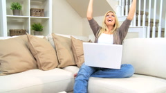 Blonde Girl Excited With Laptop Results Stock Footage