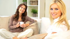 Portrait of Girlfriends at Home Stock Footage