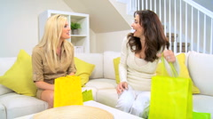 Girlfriends With Shopping Purchases Stock Footage