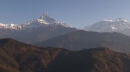 Stock Video Footage of Nepal: Static Shot of Fishtail (Machapuchare) Mountain